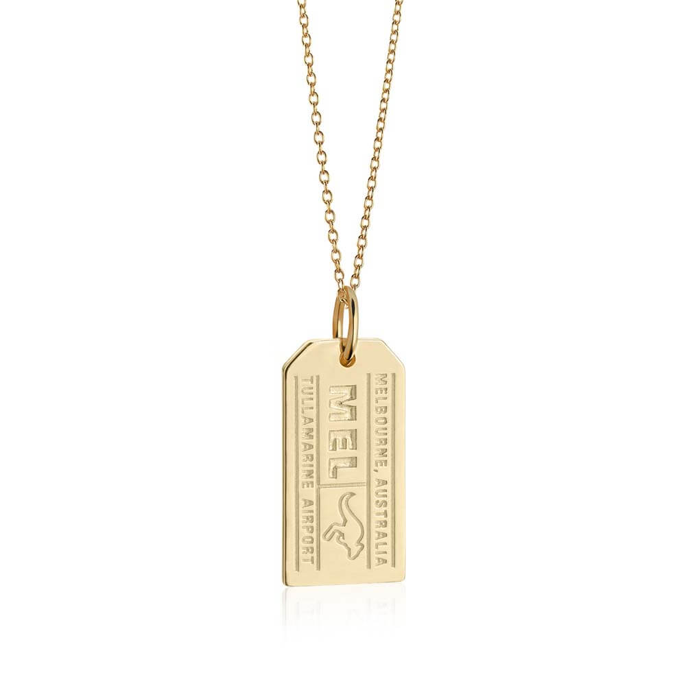 Solid Gold Australia Charm, Melbourne MEL Luggage Tag - JET SET CANDY
