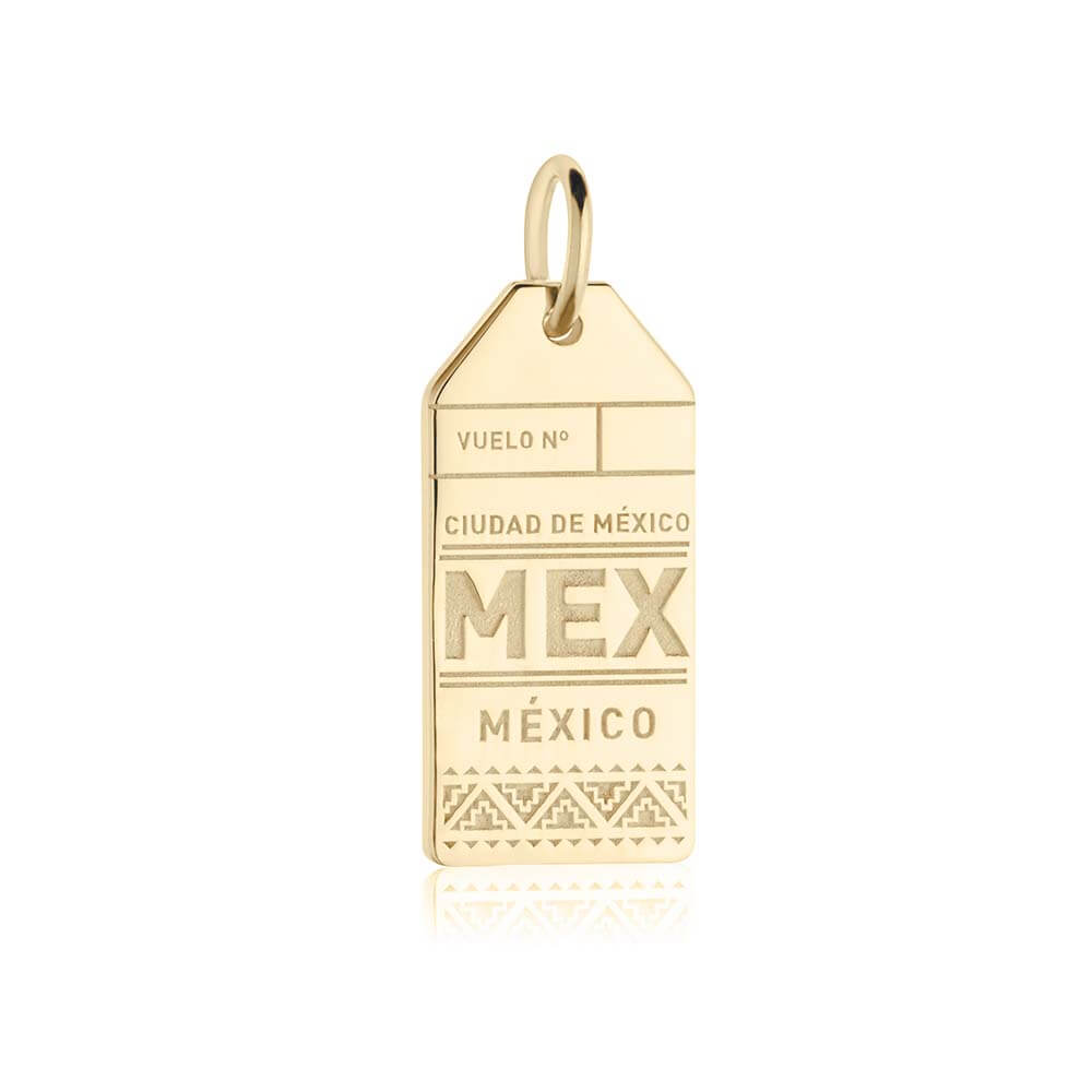 Gold Mexico Charm, MEX Luggage Tag - JET SET CANDY