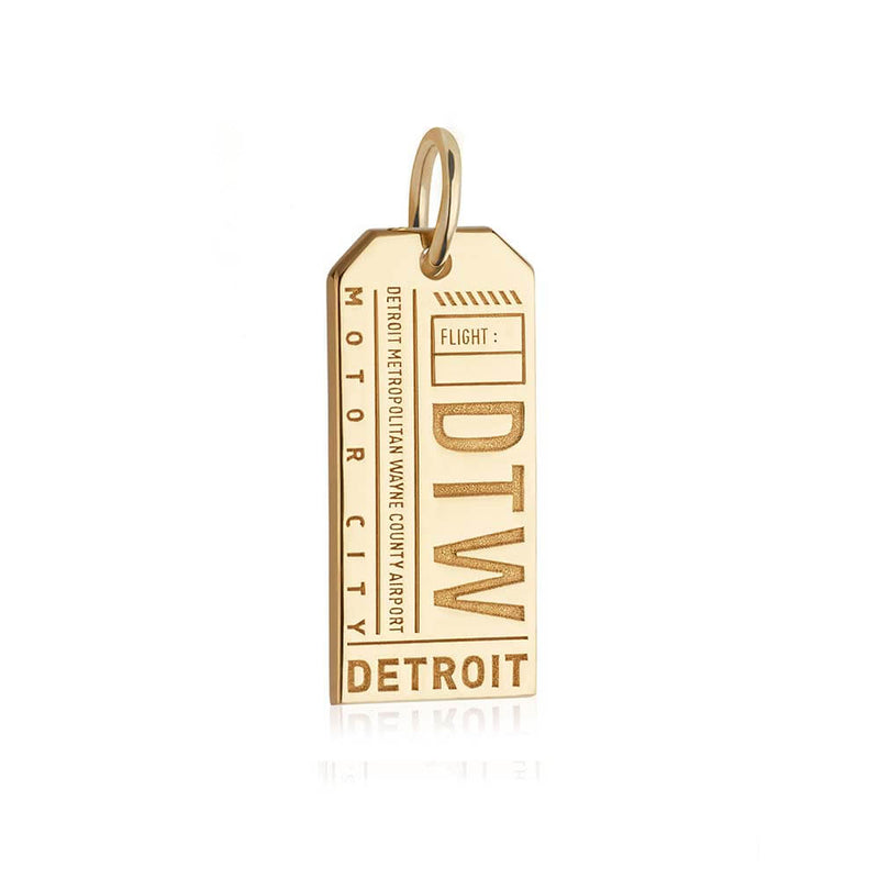 Gold USA charm, DTW Detroit Luggage Tag - JET SET CANDY