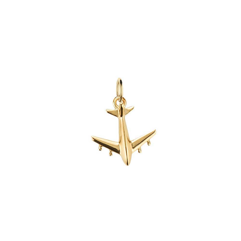 Solid Gold Airplane Charm, Mini - JET SET CANDY
