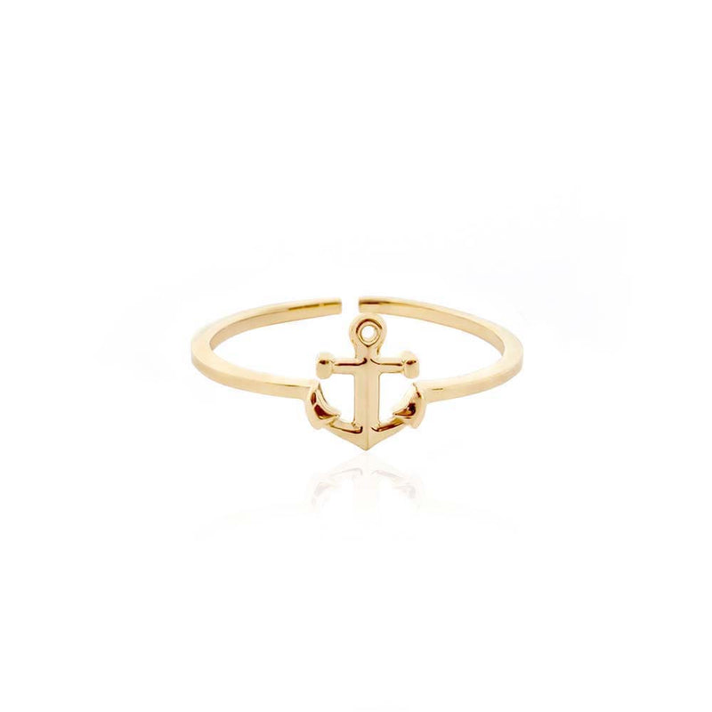 Mini Gold Adjustable Anchor Ring - JET SET CANDY