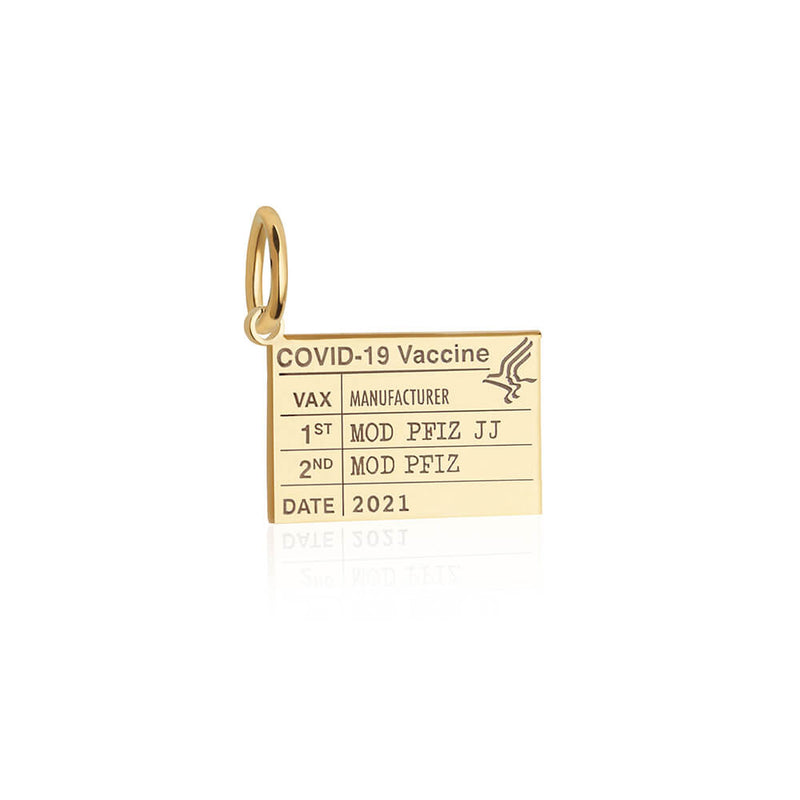 Solid Gold Mini Vaccine Card Charm (Allow 8 weeks)