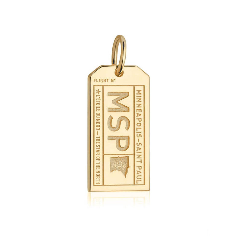 Gold Minneapolis Charm, MSP Luggage Tag - JET SET CANDY