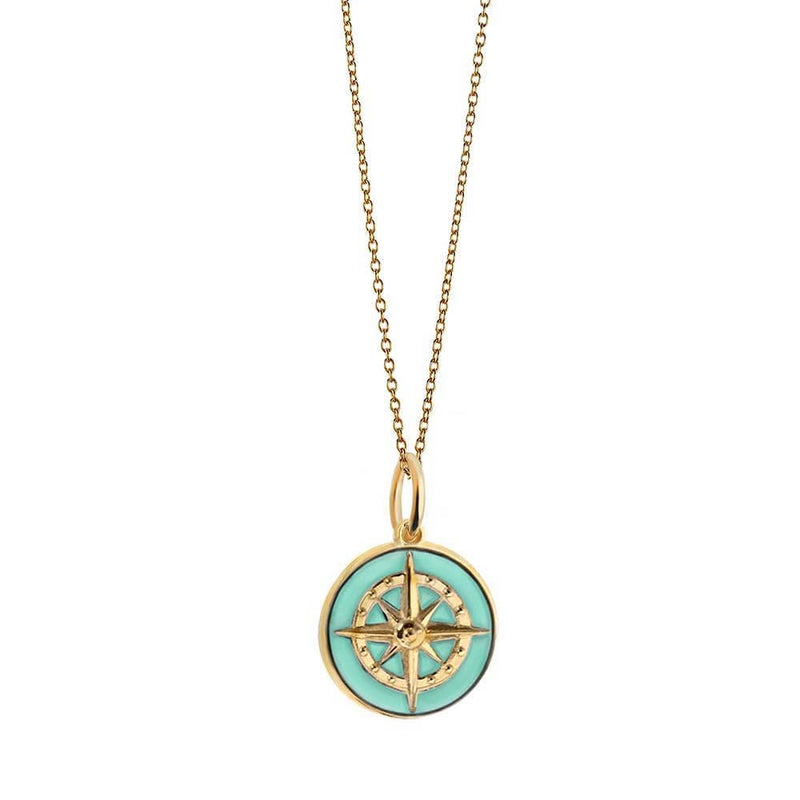 Large Gold Mint Enamel Compass Charm - JET SET CANDY