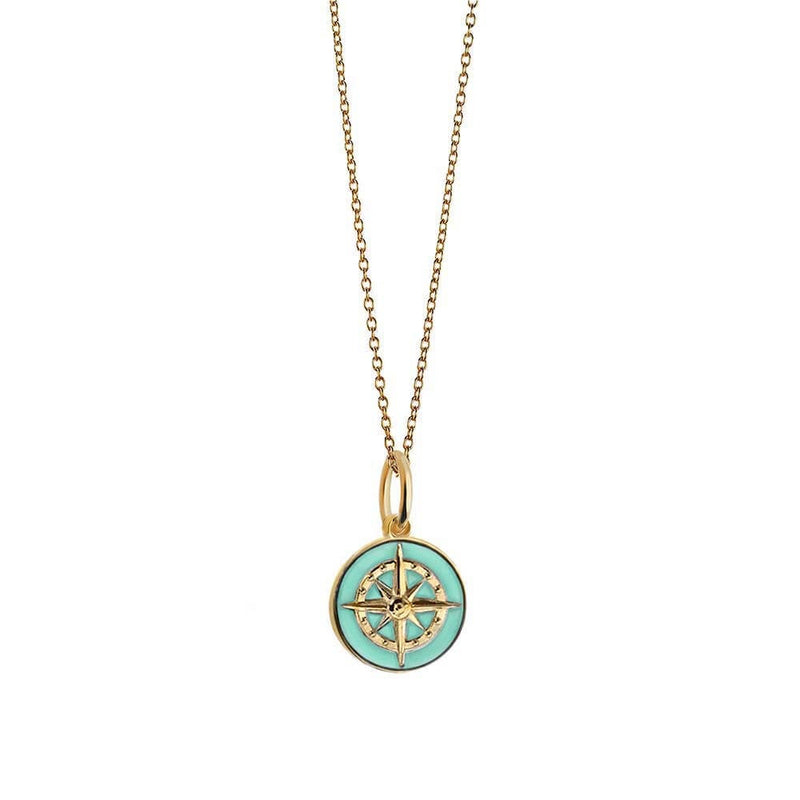 Gold Mini Mint Enamel Compass Charm (SHIPS JUNE) - JET SET CANDY