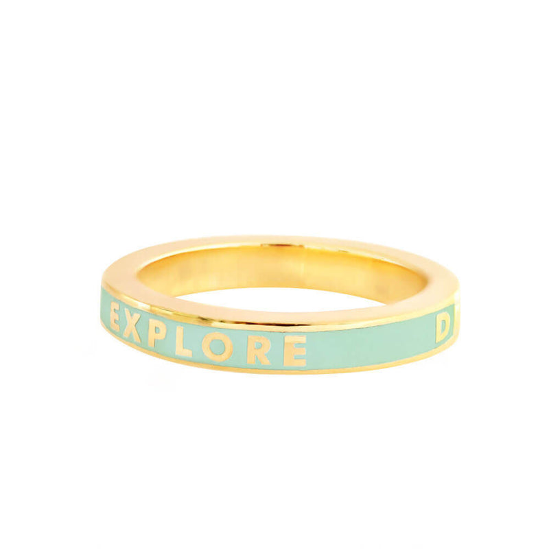 Mint Enamel Gold Ring, Explore Dream Discover