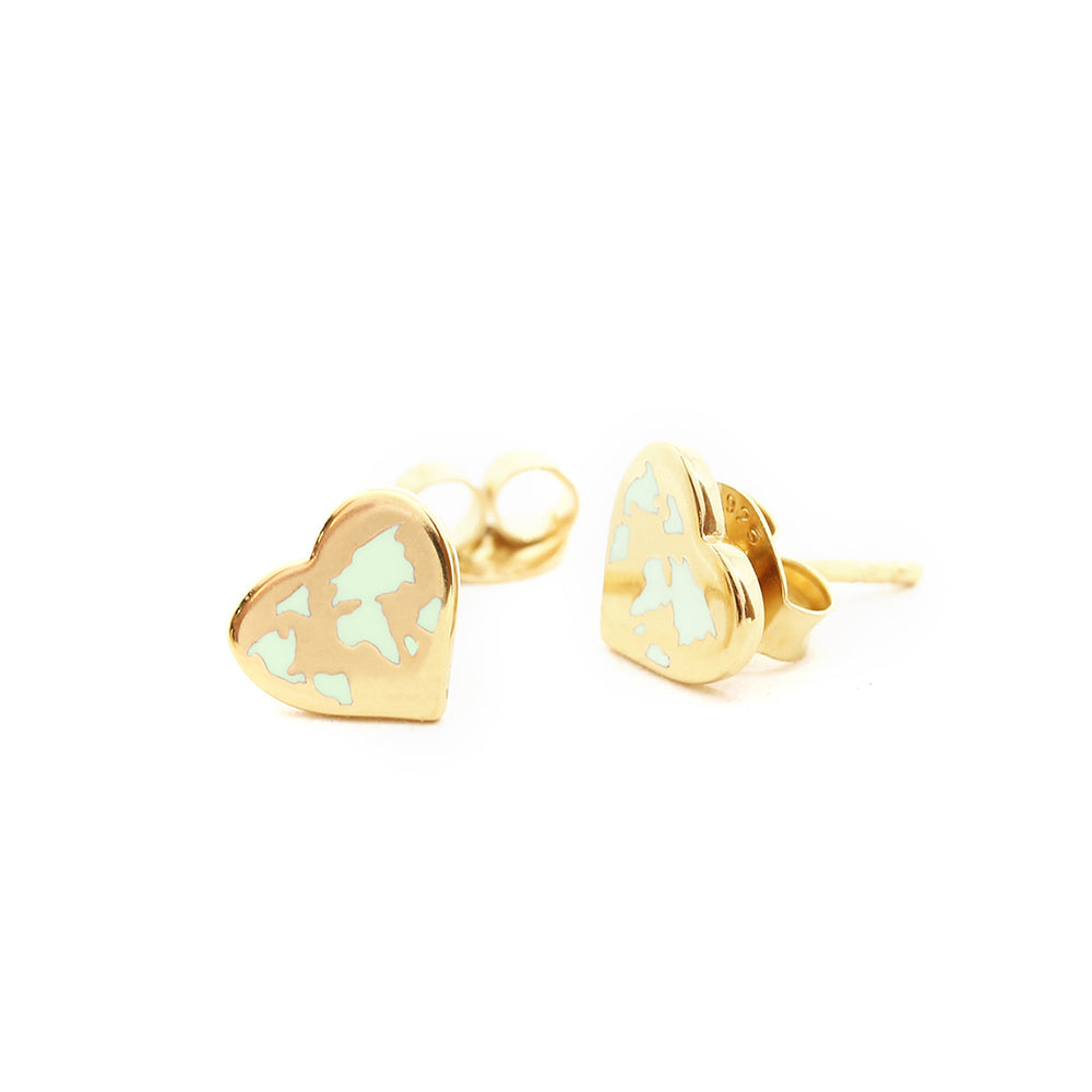 Tiny Gold World Heart Map Earrings with Mint Enamel