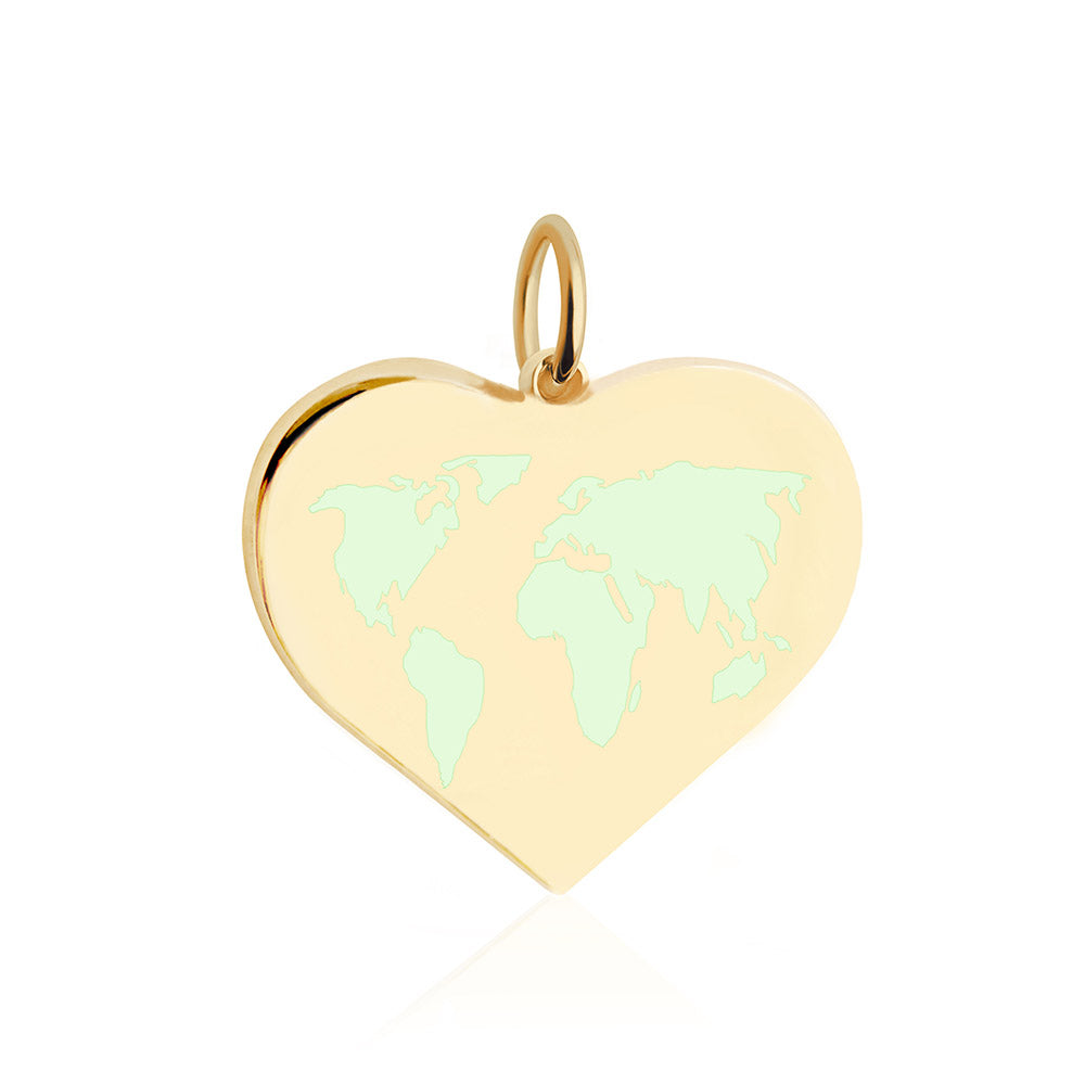 Large Gold World Heart Map Charm with Mint Enamel