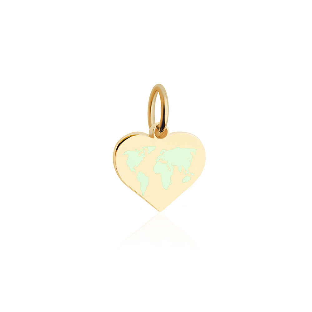 Mini Gold World Heart Map Charm with Mint Enamel (SHIPS EARLY FEB.)