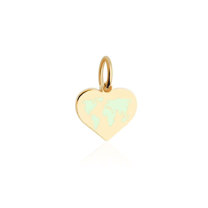 Mini Gold World Heart Map Charm with Mint Enamel