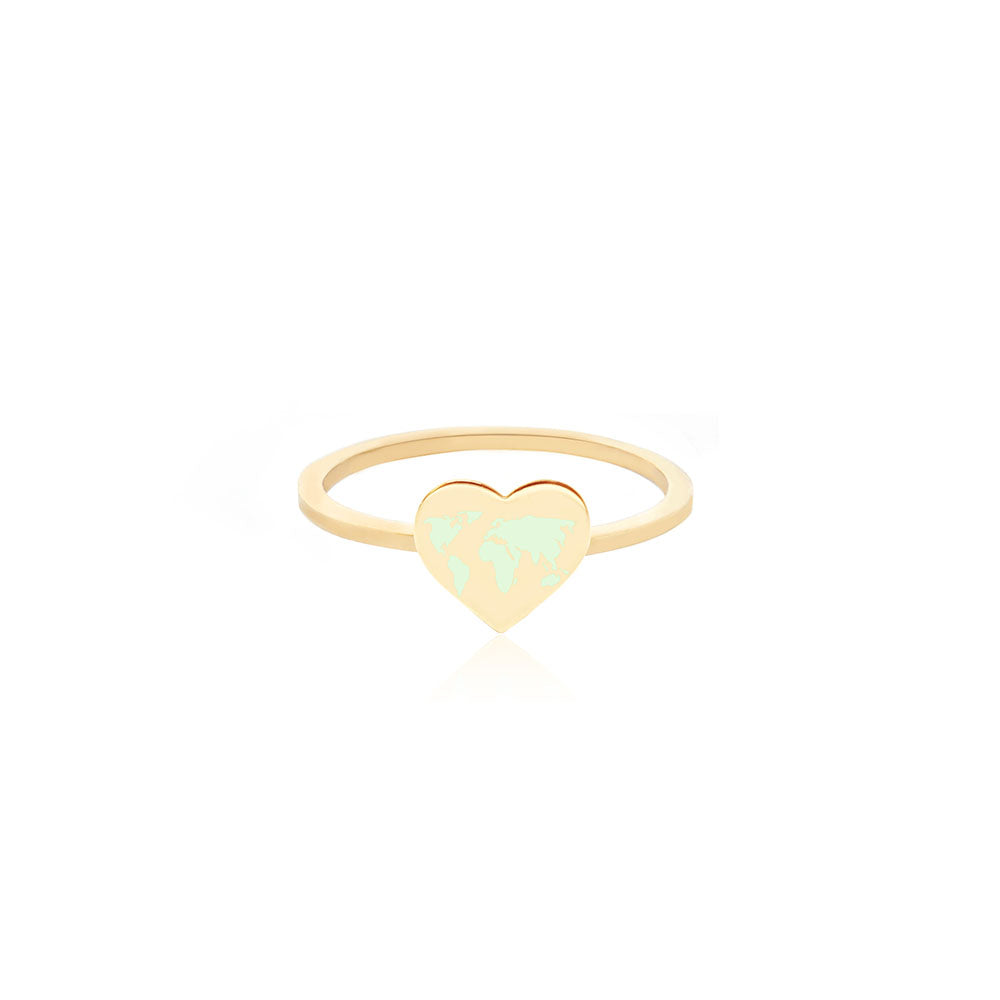Gold World Heart Map Midi Ring with Mint Enamel (SHIPS MID DEC.)