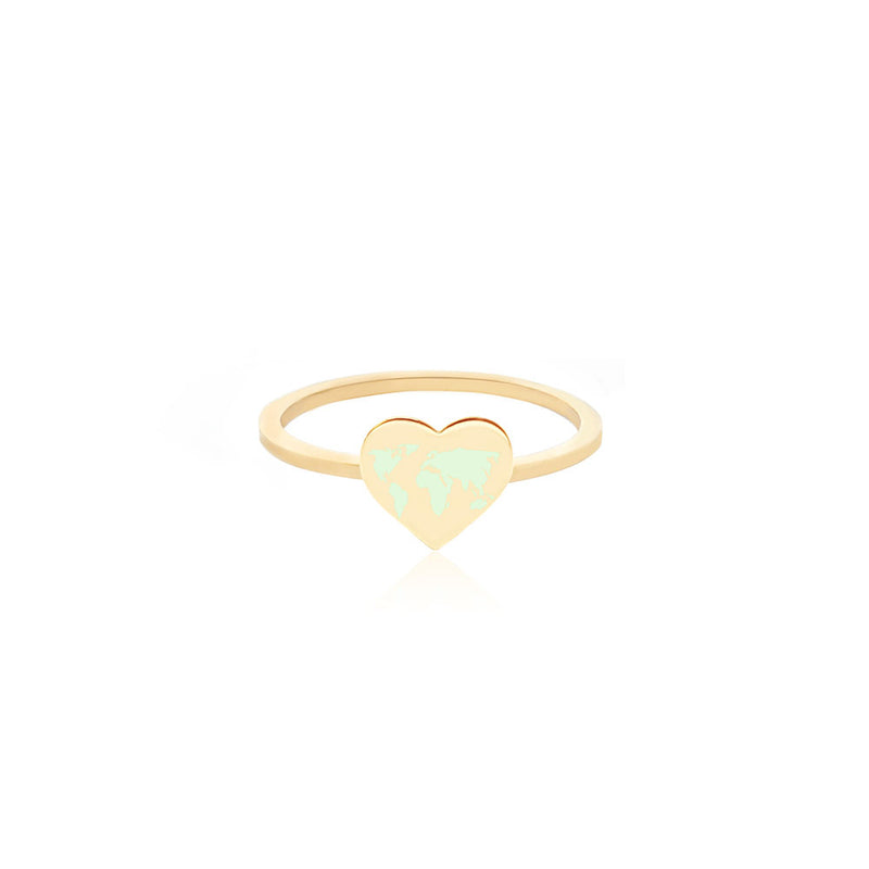 Gold World Heart Map Midi Ring with Mint Enamel