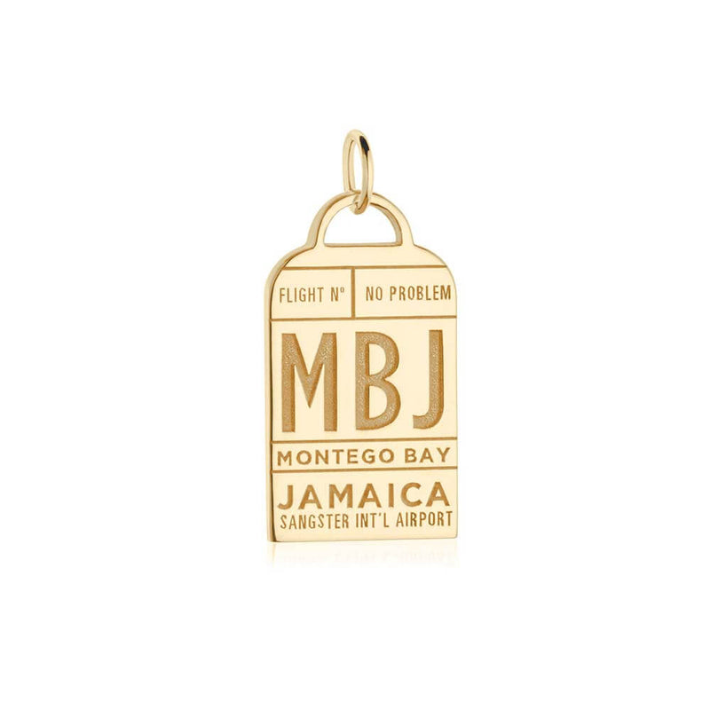 Gold Caribbean Charm, MBJ Montego Bay Luggage Tag - JET SET CANDY