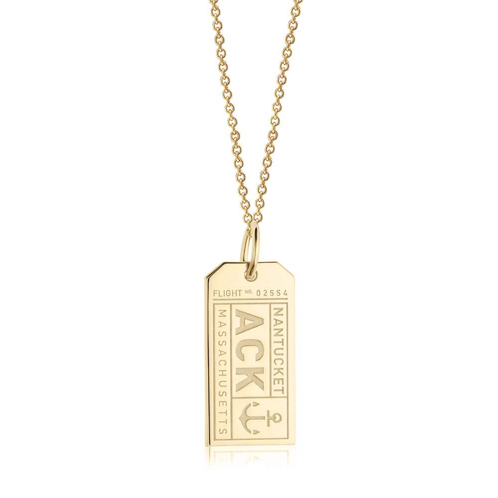 Gold Nantucket Charm, ACK Luggage Tag Charm - JET SET CANDY