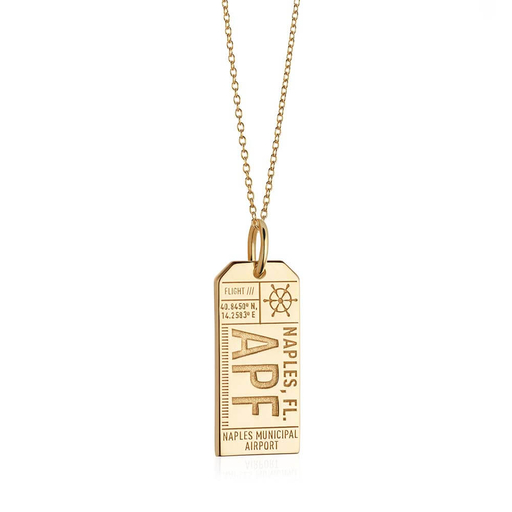 Gold Florida Charm, APF Naples Luggage Tag - JET SET CANDY