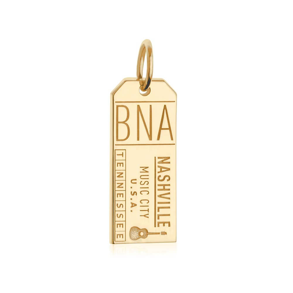 Gold Tennessee Charm, Nashville BNA Luggage Tag - JET SET CANDY