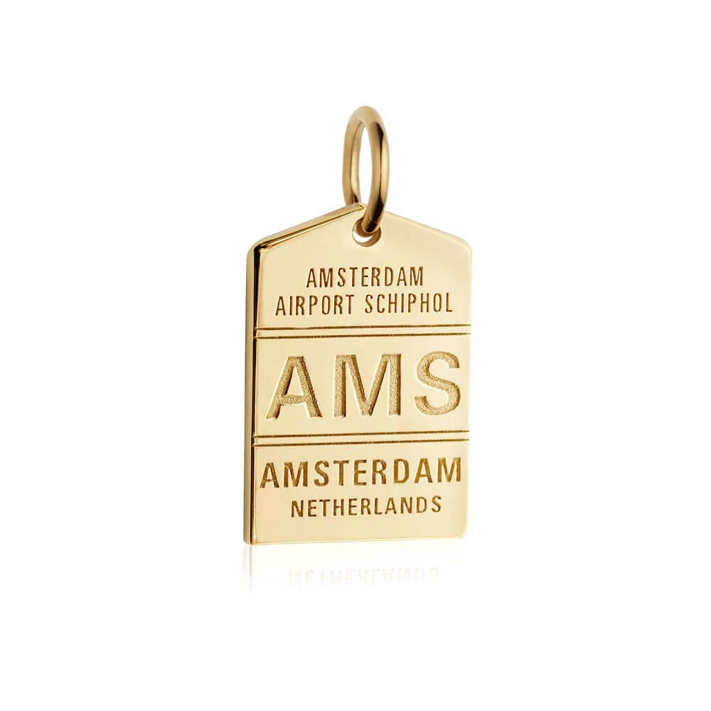 Gold Vermeil Amsterdam Charm, AMS Luggage Tag (BACK-ORDER-SHIPS MARCH) - JET SET CANDY