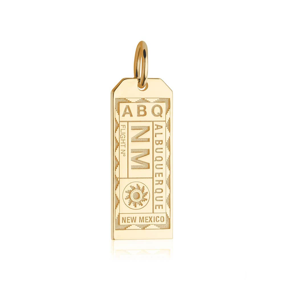 Gold USA Charm, ABQ Albuquerque Luggage Tag - JET SET CANDY