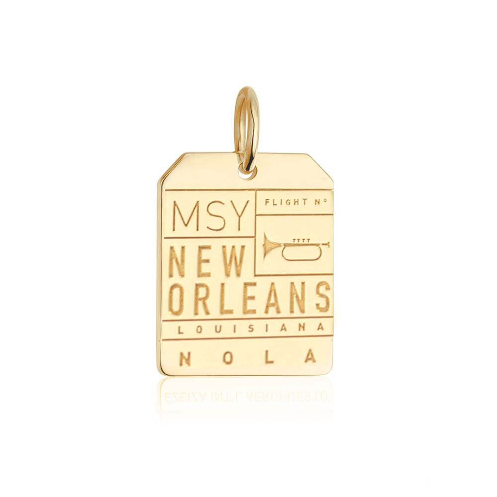 Gold New Orleans Charm, MSY Luggage Tag (SHIPS JUNE) - JET SET CANDY