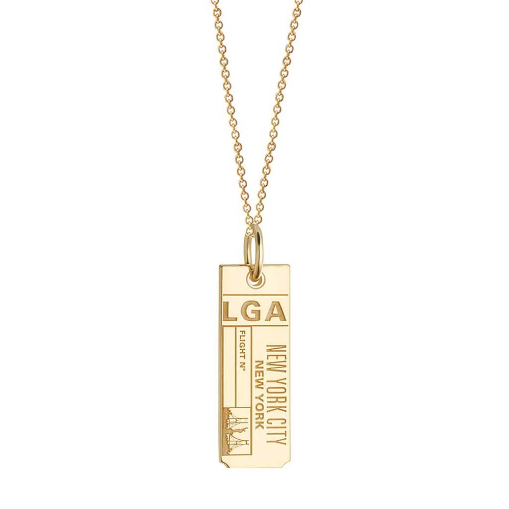 Gold New York Charm, LGA LaGuardia Luggage Tag - JET SET CANDY
