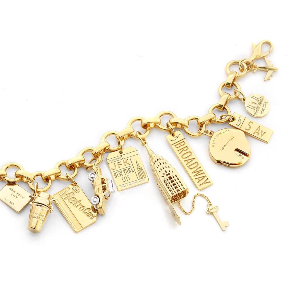 GOLD NEW YORK CHARM BRACELET BUNDLE WITH 8 CHARMS
