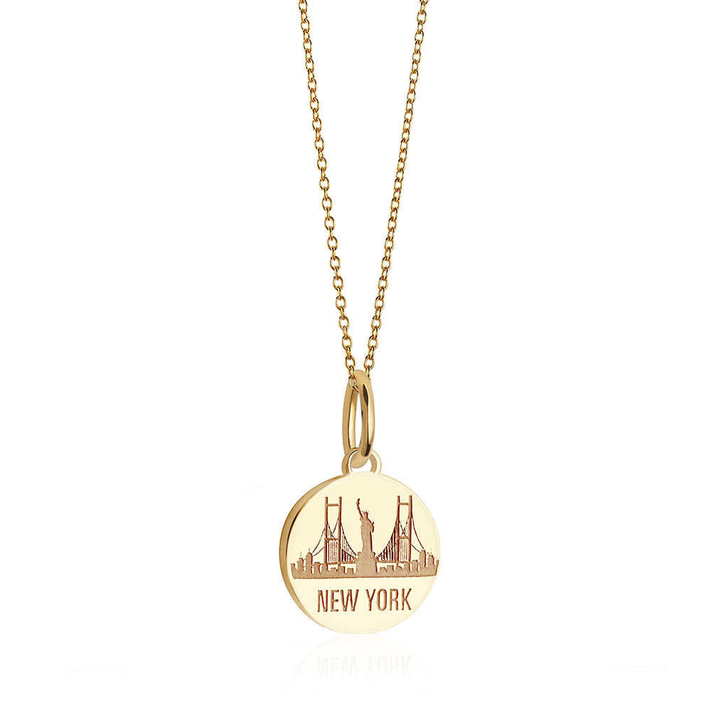 Gold New York Necklace, Mini NYC Skyline - JET SET CANDY