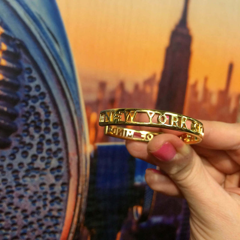 Gold New York City Cutout Cuff Bracelet - JET SET CANDY