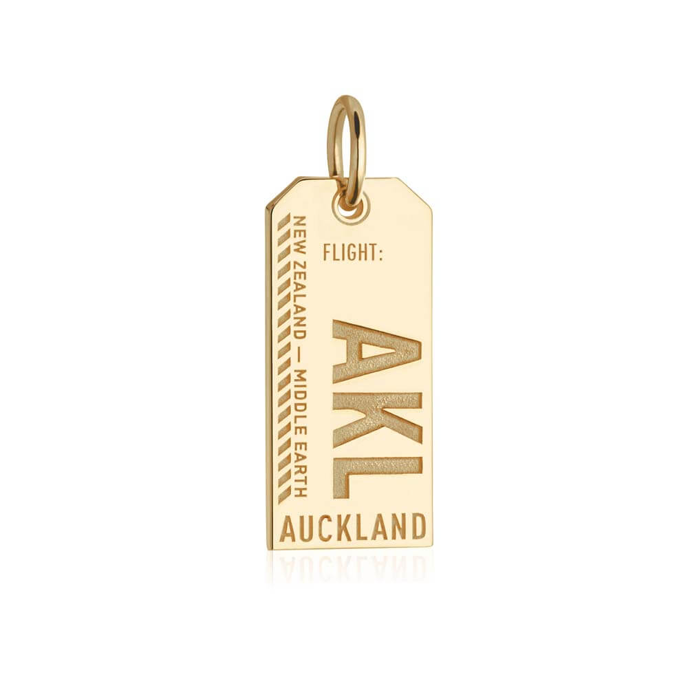 Gold New Zealand Charm, AKL Auckland Luggage Tag - JET SET CANDY