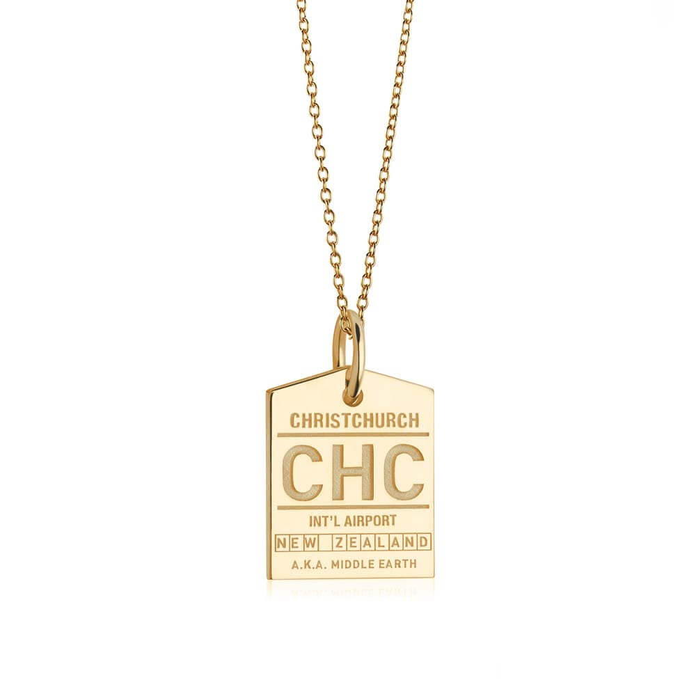 Gold New Zealand Charm, CHC Christchurch Luggage Tag - JET SET CANDY