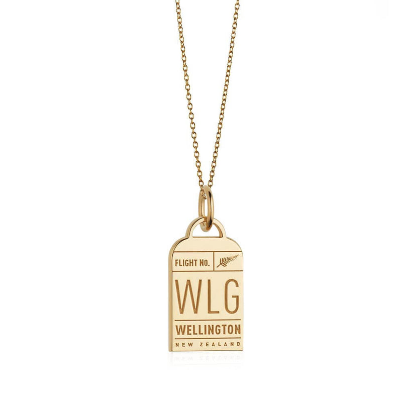 Gold New Zealand Charm, WLG Wellington Luggage Tag - JET SET CANDY