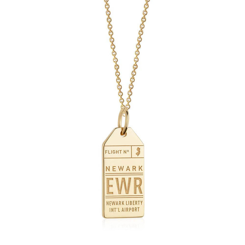 Gold USA Charm, EWR Newark Luggage Tag - JET SET CANDY