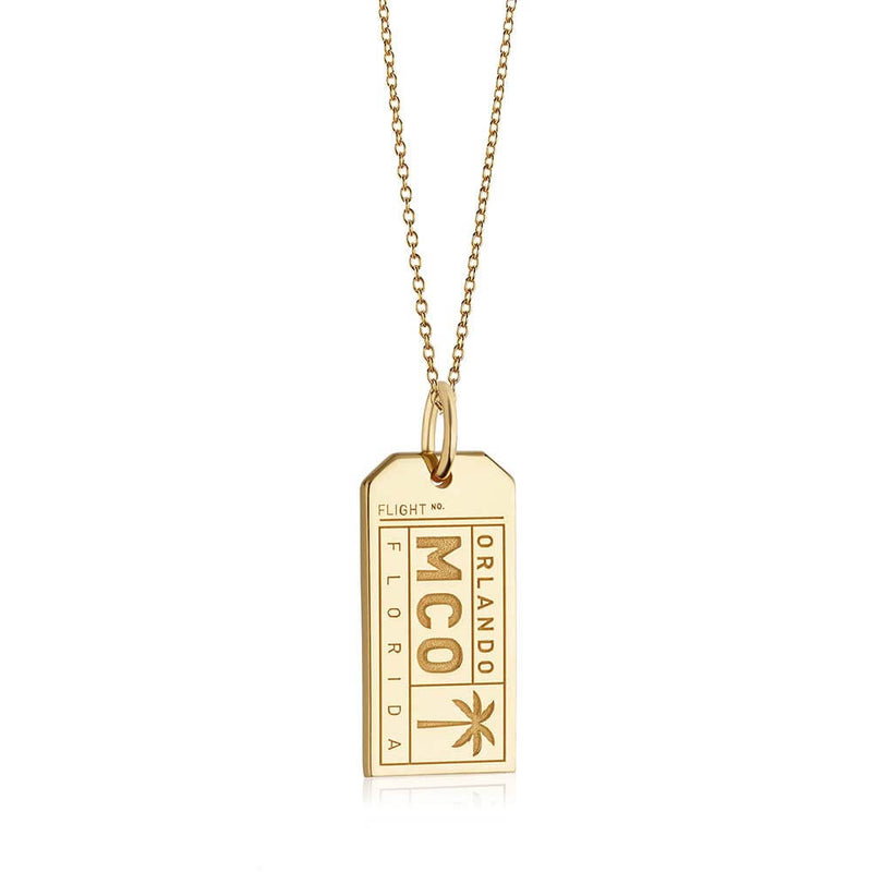 Gold Florida Charm, MCO Orlando Luggage Tag - JET SET CANDY