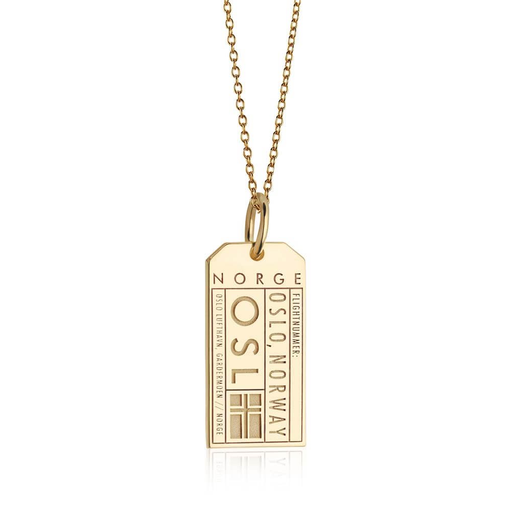 Gold Vermeil Norway Charm, OSL Oslo Luggage Tag - JET SET CANDY