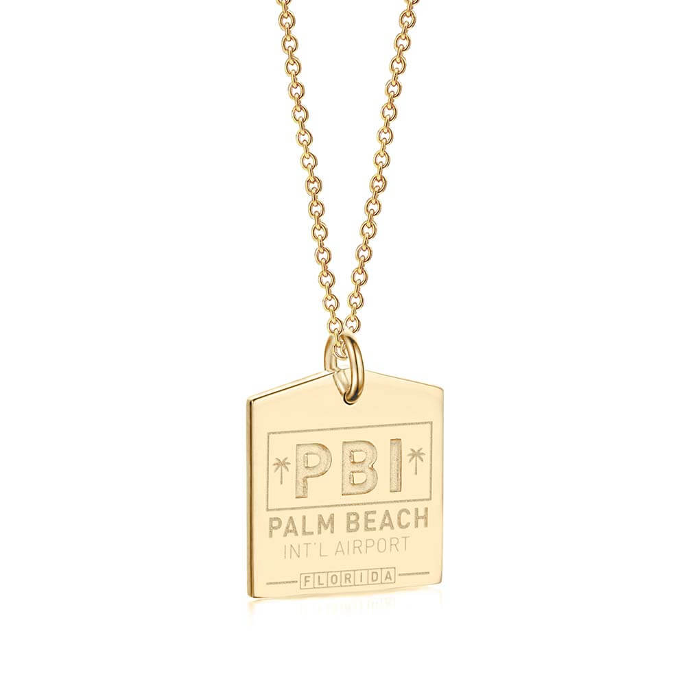 Gold Palm Beach Charm, PBI Luggage Tag - JET SET CANDY