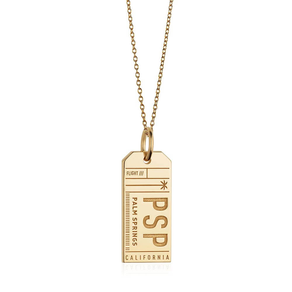 Gold California Charm, PSP Palm Springs Luggage Tag - JET SET CANDY