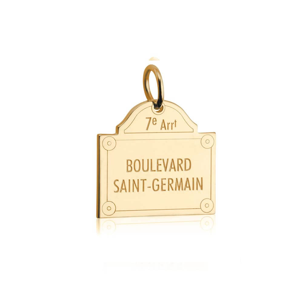 Gold French Charm, Boulevard Saint-Germain Sign (SHIPS JUNE) - JET SET CANDY