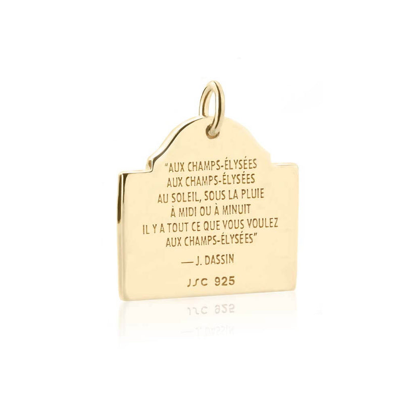 PRE ORDER: Solid Gold Champs-Élysées Sign Charm (Allow 8 weeks)