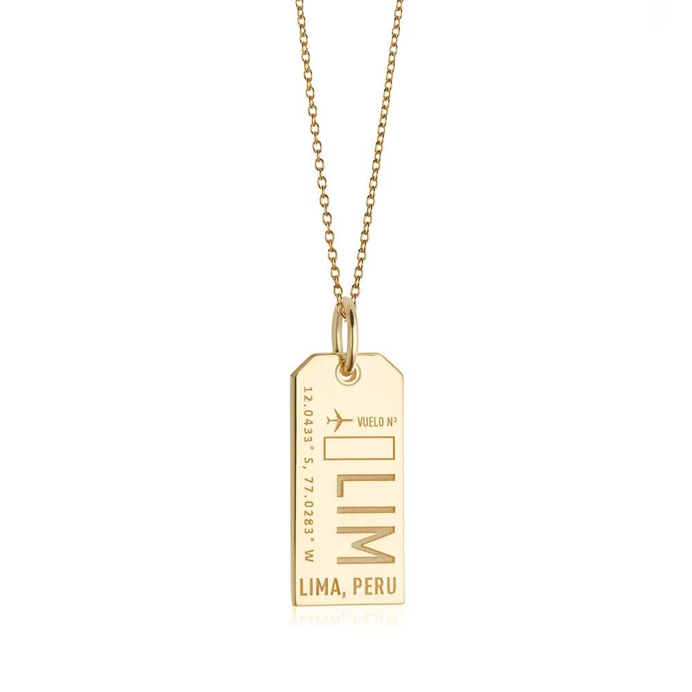 Gold Travel Charm, LIM Lima, Peru Luggage Tag - JET SET CANDY