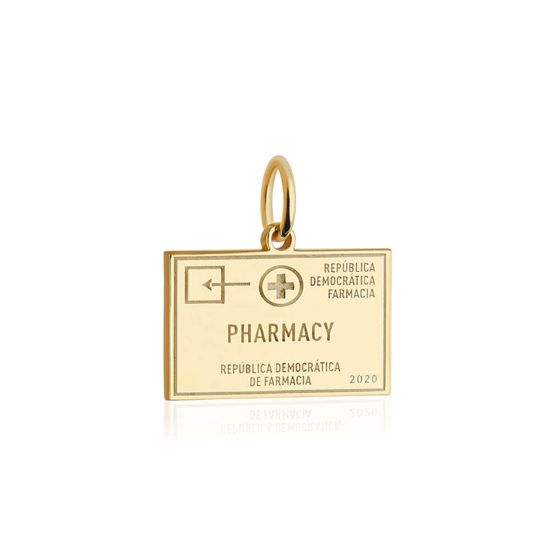 PRE ORDER: Solid Gold Pharmacy Passport Stamp Charm (Allow 8 weeks)