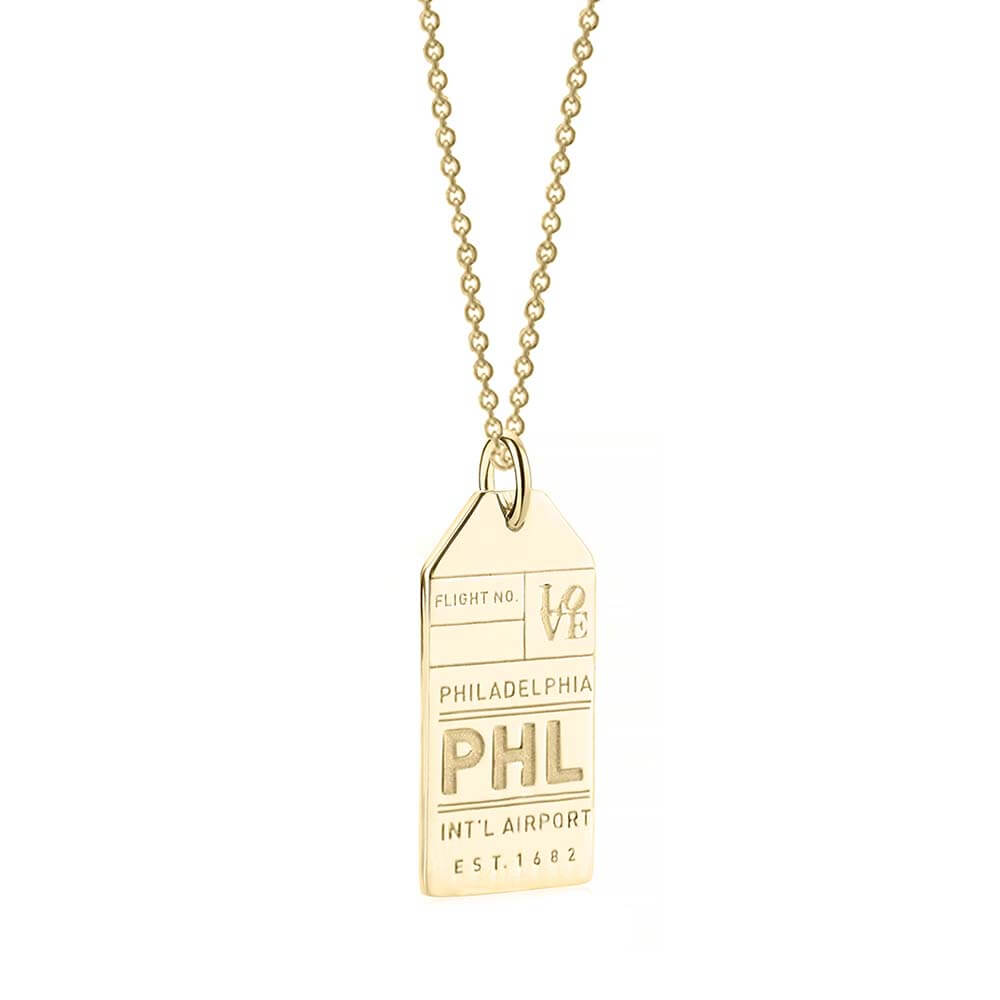 Gold USA Charm, PHL Philadelphia Luggage Tag - JET SET CANDY