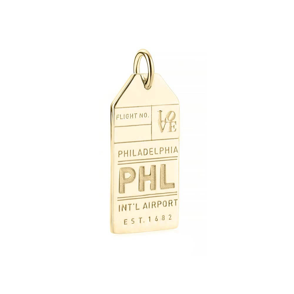 PRE ORDER: Solid Gold PHL Philadelphia Luggage Tag Charm (Allow 8 weeks)
