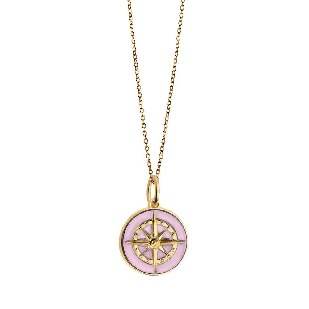 Large Gold Pink Enamel Compass Charm - JET SET CANDY