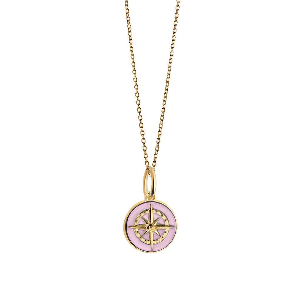 Gold Mini Pink Enamel Compass Charm (SHIPS JUNE) - JET SET CANDY