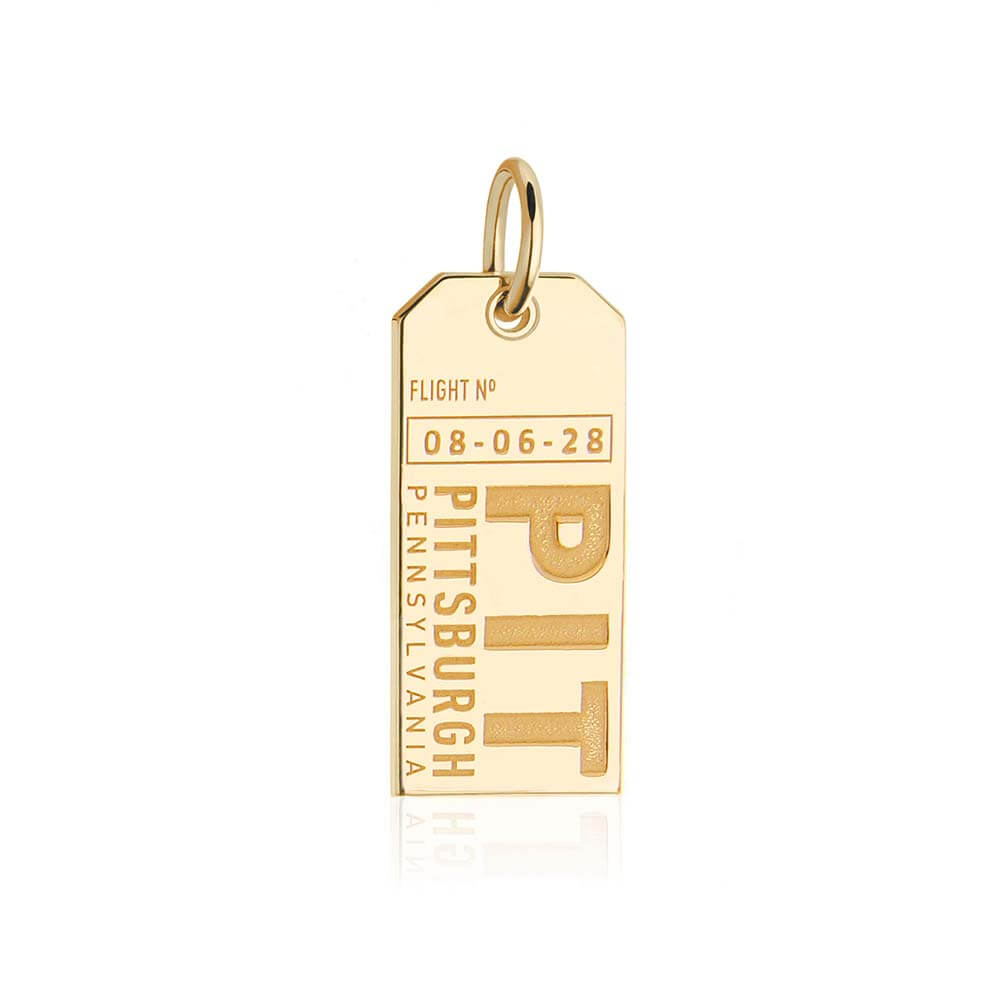 Gold USA Charm, PIT Pittsburgh Luggage Tag - JET SET CANDY