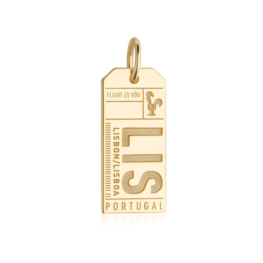 Gold Portugal Charm, LIS Lisbon Luggage Tag - JET SET CANDY
