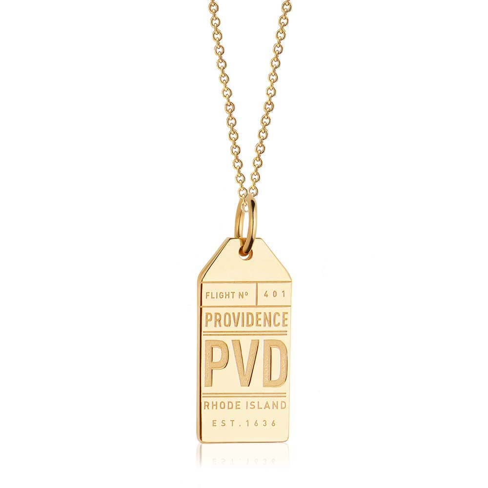 Gold USA Charm, PVD Providence Luggage Tag - JET SET CANDY