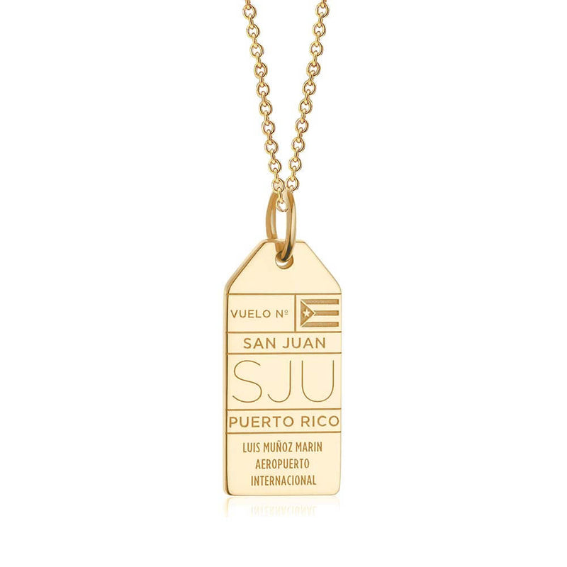 Gold Puerto Rico Charm, SJU San Juan Luggage Tag - JET SET CANDY