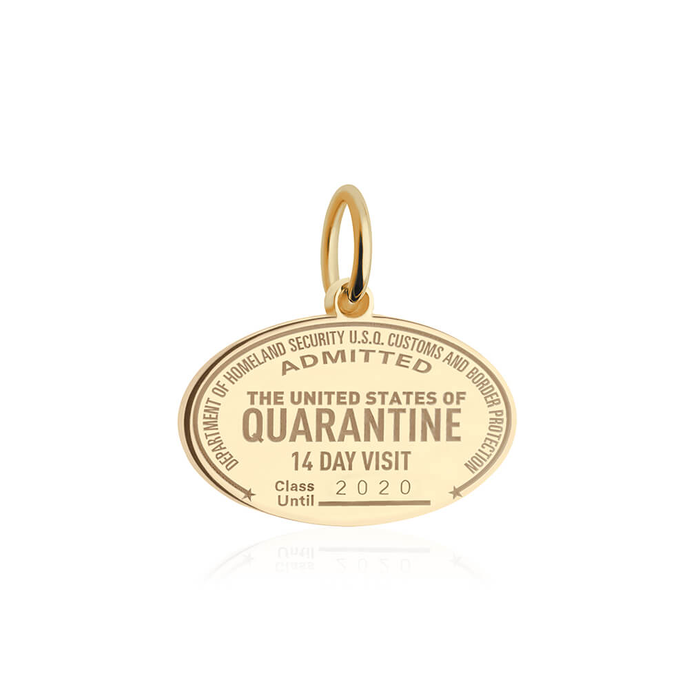 Gold United States of Quarantine Passport Stamp Charm