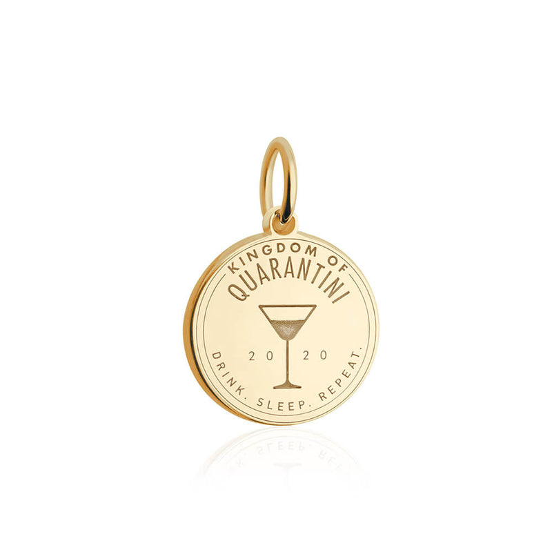 Gold Quarantini Passport Stamp Charm