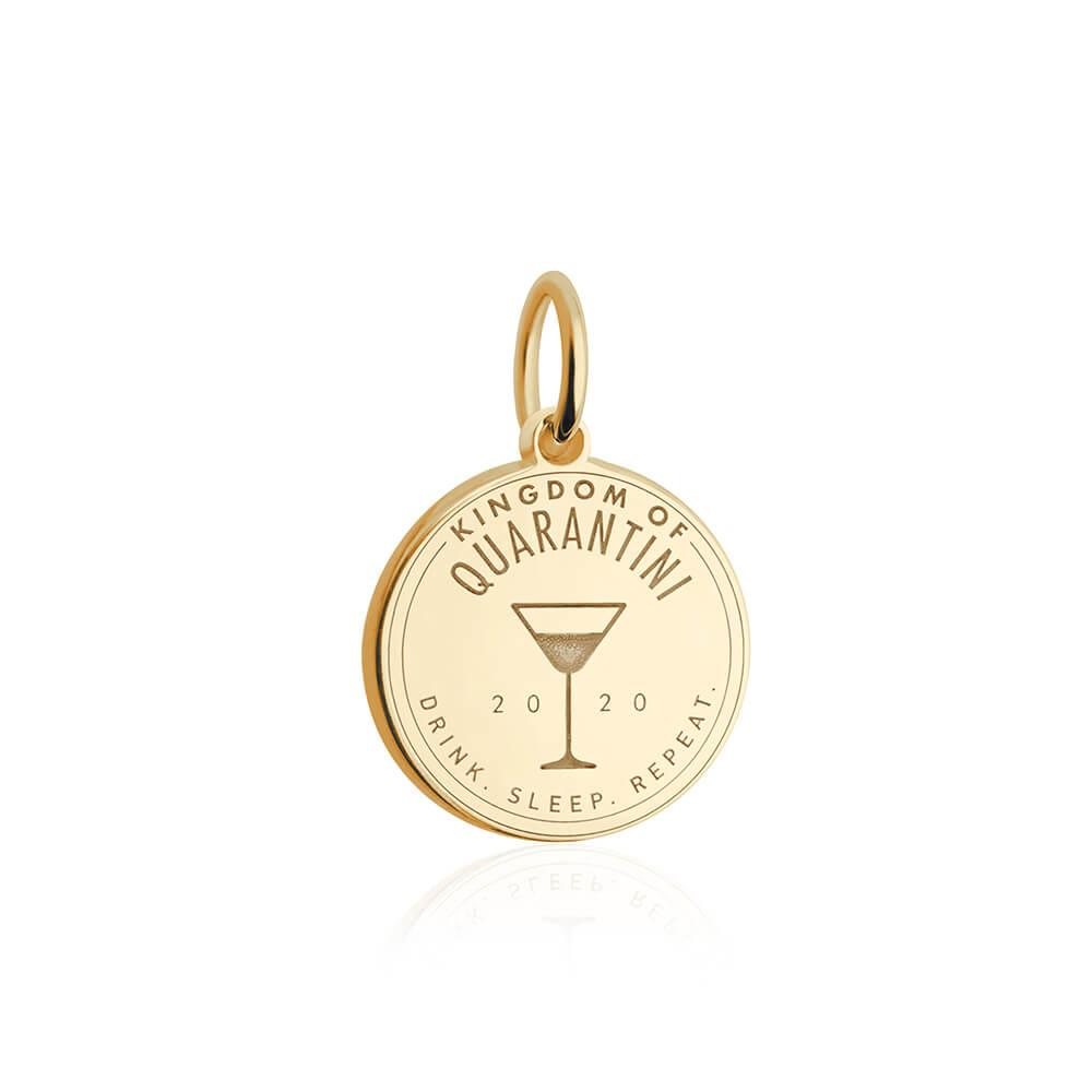 PRE ORDER: Solid Gold Quarantini Passport Stamp Charm (Allow 8 weeks)